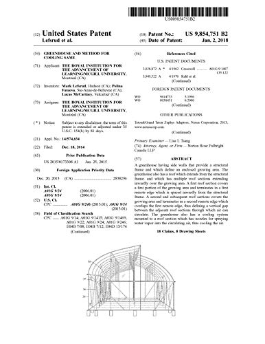 Greenhouse and method for cooling same: United States Patent 9854751 (English Edition)