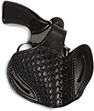 Pusat Holster Smith Wesson 38 Special Series Model Series Leather Basketweave OWB 2 Barrel Holster Handcrafted Color Black-Brown (Black Right Hand, S&W Model 60)