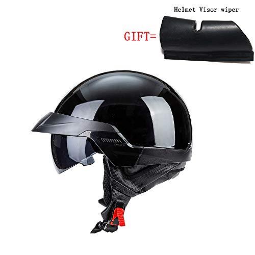 A-TSWB Street Motorcycle Half Helmet Casco de Calle Certificado por Dot para jóvenes Adultos Regalo Casco Visor Limpiaparabrisas,BlackA,XL