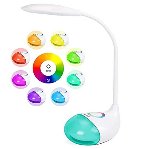 WILIT Q10 Batteriebetriebene Schreibtischlampe Kind mit 28 LED und RGB 256 Farblicht, Tischlampe Touch Dimmbar, Nachttischlampe mit 2000mAh Akku und 3 Helligkeitsstufen für Lesen, Studieren, 5W, Weiß