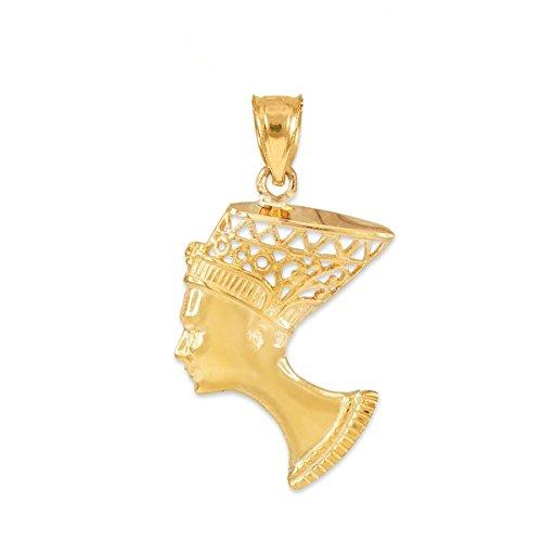 Textured 10k Yellow Gold Egyptian Queen Nefertiti Filigree Charm Pendant