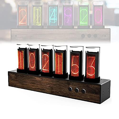 ZHJIUXING WGR Reloj de Tubo Digital Nixie, Reloj Despertador Digital LED de Color Ajustable, Madera Maciza con Tubo de luz, Regalo Creativo para el día de San Valentín, Black