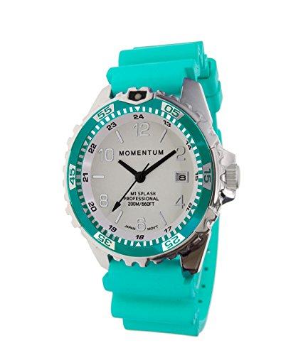 Splash SAPPHIRE Reloj de buceo moderno de Momentum Watches AQUA 1M-DN11LSA1A para mujer 200M (660FT) resistente al agua 5 años de duración de la batería luminoso Dial Reloj de buceo
