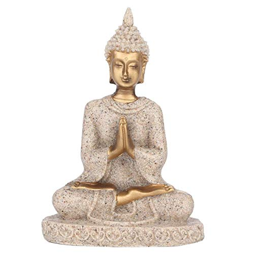 Estatua de Buda, Figura de Talla de Buda Sentado, Estatua de Buda de Piedra Arenisca Artesanal para decoración del hogar, Adorno de Mesa 11 cm(Oro)