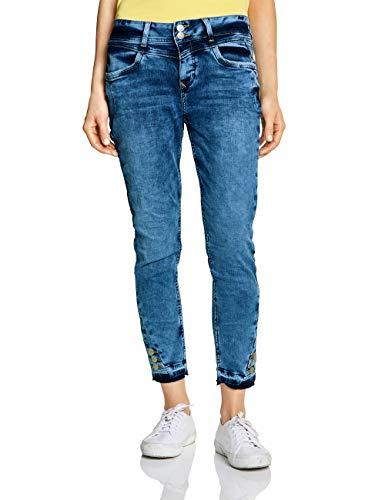 Street One Damen 372479 Rob Loose Fit Slim Jeans, Blau (Indigo Blue Random Bleach 12001), 38 /L28 (Herstellergröße:30)