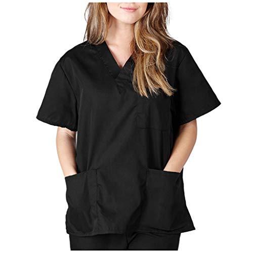 Zilosconcy Arbeitskleidung Unisex Kurzarm T-Shirts V-Ausschnitt Tops Pflege Medizin Arzt Uniform Berufsbekleidung Krankenschwester Kleidung Damen Uniformen Oberteil mit Tasche SchwarzL