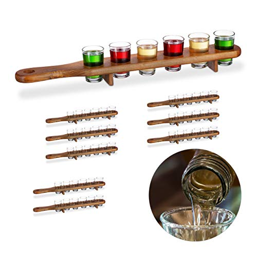 9 x Schnapsbrett Holz, 54 Schnapsgläser, 4 cl, praktische Schnapslatte, halber Meter, Geschenkidee, Shotbrett, braun
