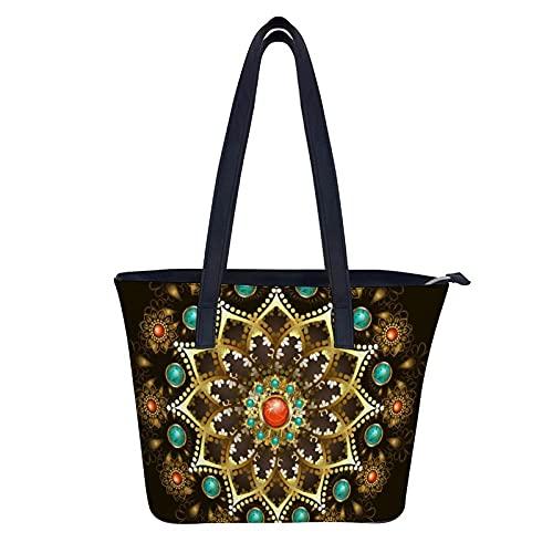 Große Handtasche für Damen, Goldschmuck Mandala verziert