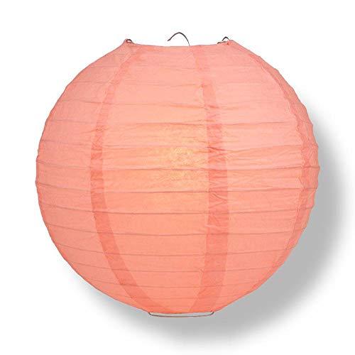 "Quasimoon PaperLanternStore.com 10"" Roseate/Pink Coral Round Paper Lantern, Even Ribbing, Hanging Decoration"