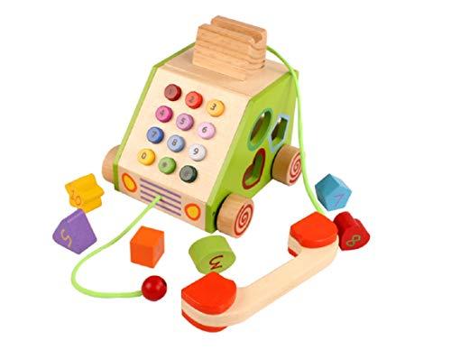 Lalia Nachzieh Holzspielzeug,Telefon Motorik Spielzeug, Nachziehtier bunt, aus Holz, Geschenk für Kinder Motorik Spielzeug, bunt Holz Uhr Spielzeug 2+ Kinder Kleinkinder (Telefon)