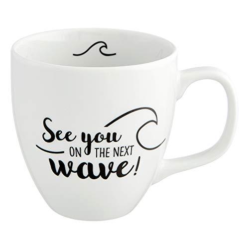 Him & I® - Jumbo Tasse mit Spruch See You on The Next Wave - 9,5 cm - 0,45 l - Porzellan Tasse groß - Meer & Reise Kaffeetasse - Maritim Kaffeebecher - Geschenk Idee für Beste Freundin & Kollegin