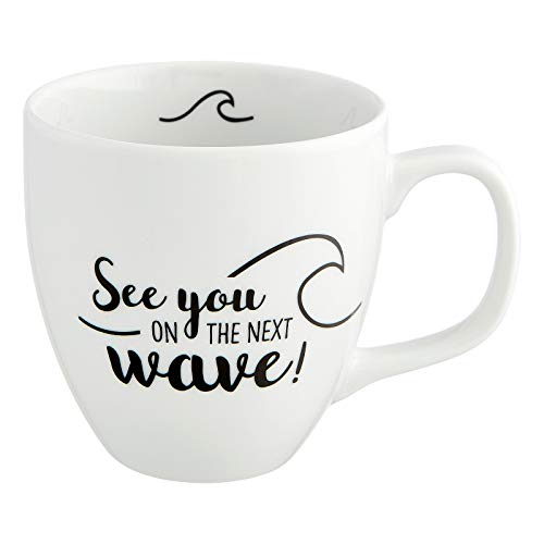 Him & I - Taza Jumbo con texto 'See You on The Next Wave' - 9,5 cm - 0,45 l - Taza de porcelana grande - Taza de café marítima - Idea de regalo para mejor amiga y compañera