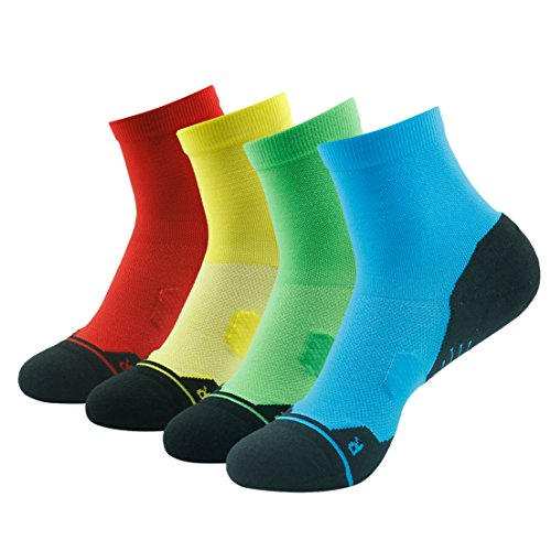 Ankle Elite Socks, HUSO Men's Women's Ultralight Camping Socks,Outdoor Dry Fit Hiking Socks,Short Compression Travel Socks,Cotton Running Quarter Socks,Golf Handball Rugby Crew Socks Pack 4
