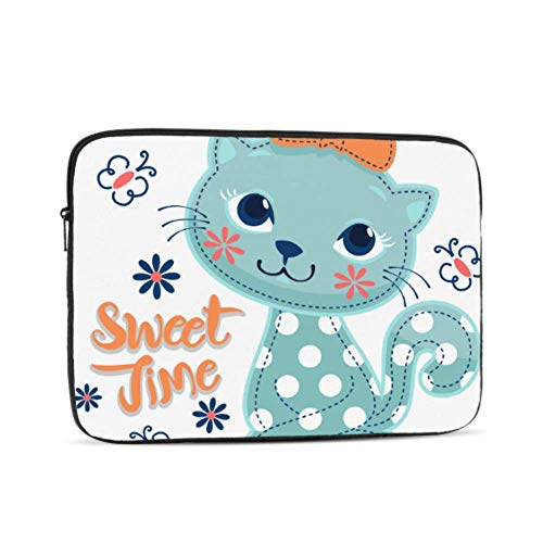 Laptop Sleeve Case 15 Inch Cartoon Sweet Cat Girl Wearing Bow Laptop Sleeve/notebook Computer Pocket Case/tablet Briefcase Carrying Bag