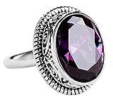 CHXISHOP Anillo de plata de ley 925 con amatista, elegante joyería de plata de ley, anillo de gema ajustable, joyería para ocasiones de color morado, talla única