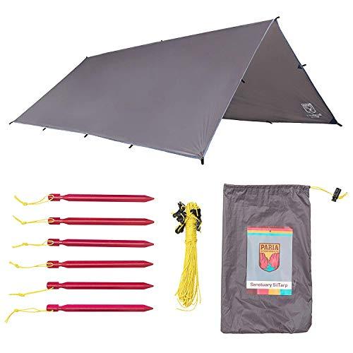 Paria Outdoor Products Sanctuary SilTarp - Ultraleichte und wasserdichte Ripstop-Silnylon-Plane, Abspannleine und Heringe - Perfekt für Hängematten, Camping (rechteckige Plane, 3 m x 2,4 m)