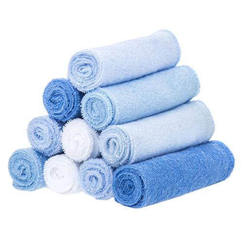 Spasilk 10 Pack Soft Terry Bath Washcloths – Newborn Boy or Girl – Baby Shower Gift, Blue, One Size