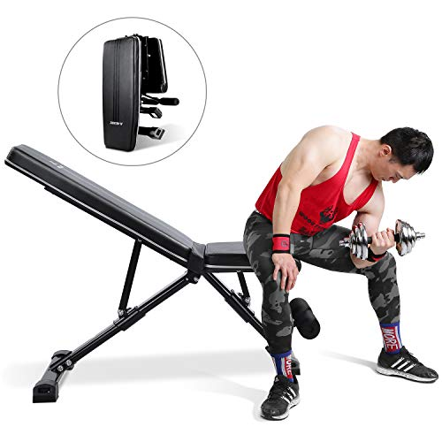 MaxKare Weight Bench Adjustable Foldable Incline Decline Bench with 882lbs Weight Capacity, 7+3+2 Positions, Automatic Lock Multi-Purpose Workout...
