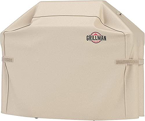Grillman Premium Copertura per Barbecue, Copertura per Barbecue a Gas per Weber, Brinkmann, Char Broil ETC. Resistente agli Urti, ai Raggi UV e all'Acqua (72 inch / 183 cm, Marrone Chiaro)