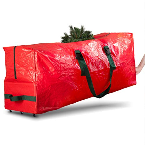 Rolling Large Christmas Tree Storage Bag - Fits Upto 9 ft. Artificial Disassembled Trees, Durable Handles & Wheels for Easy Carrying and Transport - Tear/Water Proof Polyethylene Plastic Duffle Bag