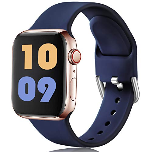 Ouwegaga Compatible con Apple Watch Correa 38mm 42mm 40mm 44mm, Correa de Reemplazo Deportiva de Silicona Suave Compatible con Apple Watch SE/iWatch Series 6/5/4/3/2/1, 42mm/44mm M/L Marino Azul