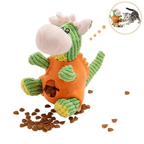 WeyTy Hundespielzeug, Hunde Plüsch Kauspielzeug Dinosaurierform Quietschspielzeug IQ Training Spielen Hundefutter Treat Feeder Zahnreinigung, Plüsch Stoff Spielzeug für Kleine/Mittel/Groß Hunde