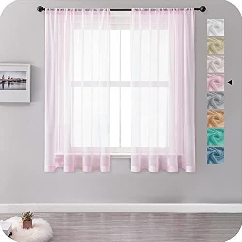 MRTREES Gardinen Vorhänge mit Store Vorhang Voile halbtransparent kurz in Leinenoptik Gardine Schals Rosa 145×140cm (H×B) für Wohnzimmer Schlafzimmer Kinderzimmer 2er Set