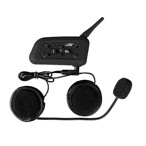 V6 Moto Bluetooth Interfono per Casco Interfono, full duplex Interphone per moto senza fili Connetti fino a 6 Riders, Radio FM/GPS / MP4 / 1200M(1 pezzi Auricolare duro)