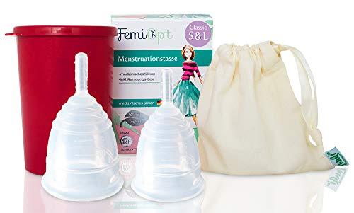 2 Menstruationstassen FemiOpt - medizinisches Silikon aus Deutschland-sichere nachhaltige Monatshygiene inklusive Reinigungs-Becher und Stoffbeutel in CLASSIC Größe S und L