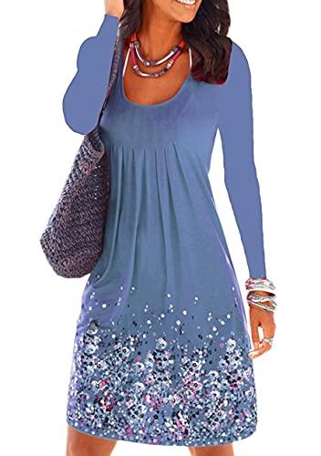 Sweetop Vestidos Mujer Vestidos Vestidos Verano Mujer O Cuello Manga Larga Línea Casual Vestido Swing turquesa L