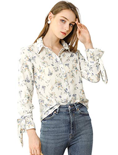 Allegra K Damen Langarm Knopfleiste Blumen Shirt Bluse Weiß L
