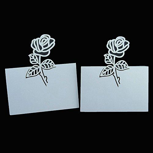 Honbay 50pcs Wedding Party Table Name Place Cards, Rose Number Name Card, Wine Glass Cards for Wedding and Chrismas Party Decoration (White)