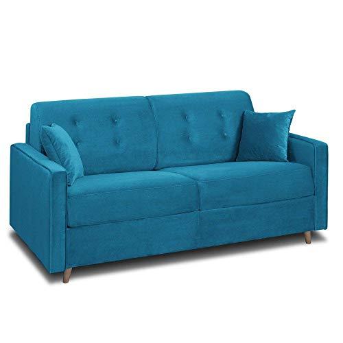 INSIDE Canapé Convertible Express Minneapolis Matelas 140cm Comfort BULTEX® 14cm sommier Lattes RENATONISI Velours Bleu