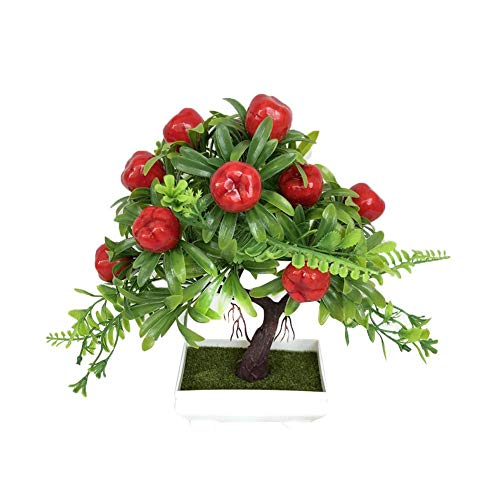 WElinks Artificial Flower Plant Small Bonsai Simulation Red Apple Tree Peach Tree Orange Tree Bonsai Potted Artificial House Plants for Desktop Display Home Garden Decoration (1#)