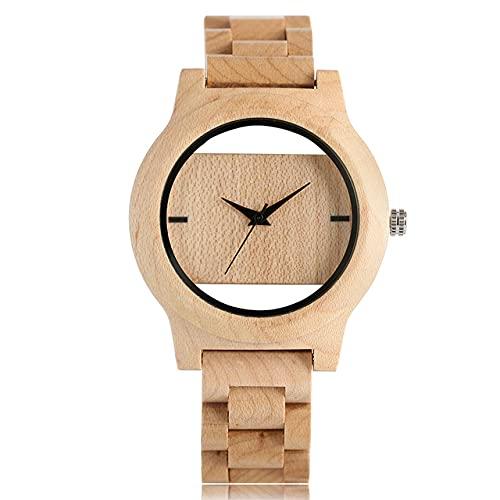 FFHJHJ Reloj de Madera Completo para Hombres de bambú Natural / Madera de ébano Relojes de Cuarzo de Madera para Hombres Hora Masculina, Banda de Madera Completa 10