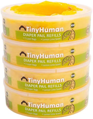 TinyHuman Diaper Genie Refill Bags with Odor Absorber Powder Lemon Lime Scented Odor Control product image