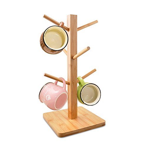 cuteadoy Mug Rack Tree, Removable Bamboo Mug Stand, Storage Coffee Tea Cup Organizer Hanger Holder...