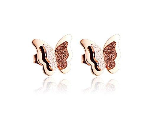 findout oro rosa placcato smerigliato orecchini a forma di farfalla in acciaio titanio (f944)