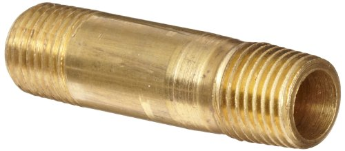 Anderson Metals - 56113-0432 Brass Pipe Fitting, Long Nipple, 1/4' x 1/4' Male Pipe, 2' Length
