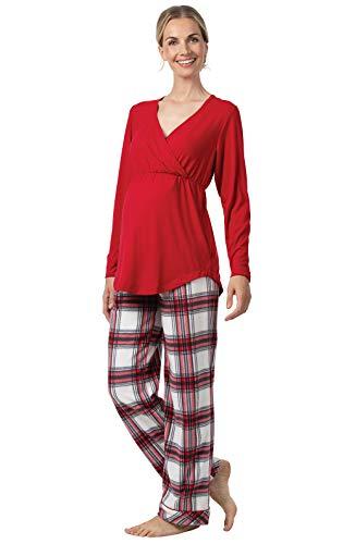 PajamaGram Women's Maternity Pajamas Soft - Fleece Maternity PJs, Red,