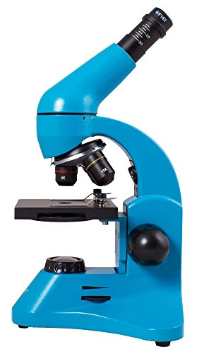 Levenhuk Rainbow 50L Plus Azure Student Microscope (64-1280x Magnification, Metal Body, Glass Optics) with Experiment Kit and Case