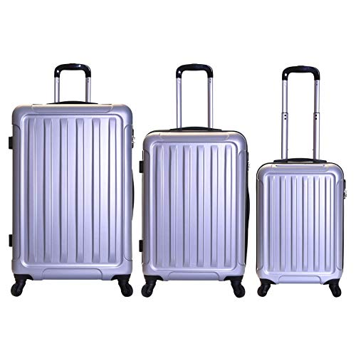 Slimbridge Luggage Set of 3 Hard ABS Shell Suitcases Large Medium and Carry On 4 Wheels Number Lock, Lydd Silver