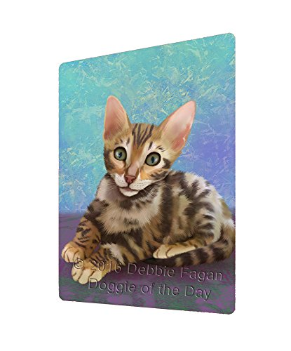Doggie of the Day Bengal Cat Art Portrait Print Woven Throw Sherpa Plush Fleece Blanket (60x80 Fleece)