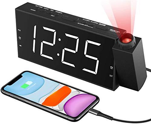 "ROCAM Projection Alarm Clock Digital with USB Charging Port,7"" LED..."