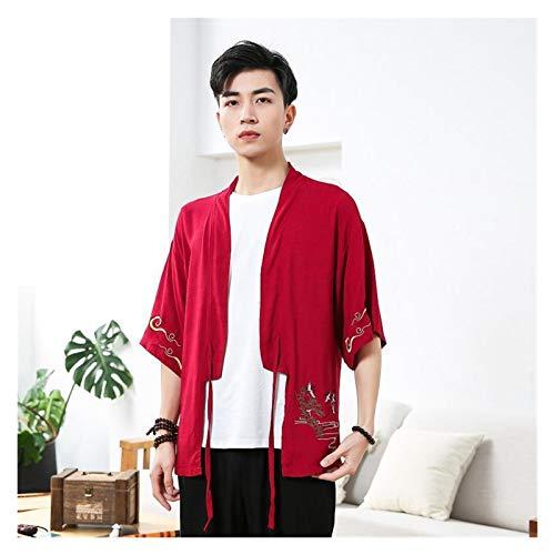 Verano algodn Lino Kimono crdigan Chino Bordado Ropa Hanfu Hombres de Gran tamao 3xl-5xl Cosplay Disfraces Abrigo Vestido Suelto (Color : Burgundy, Size : L)