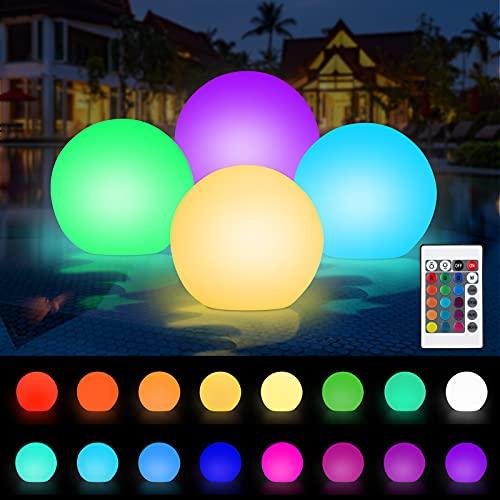 Punvot Luces Piscina Flotantes, 4 Pcs Luz del Estanque, Luz LED para Piscina, Luces...