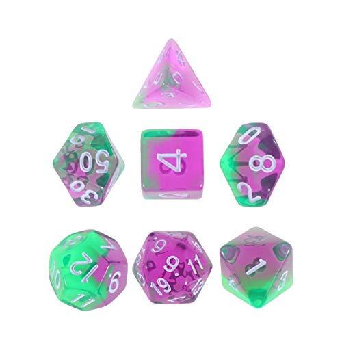 NUOBESTY 7Pcs Polyhedral Game Dice Set Dungeons and Dragons Rollenspiel MTG Pathfinder Tischspiel Brettspiele Würfelset