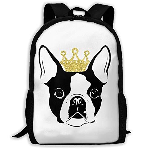 Schulrucksack, Travel Hiking Boston Terrier with Crown Backpacks Waterproof Big Student College High School Shoulder Bag Outdoor Backpacks for Men Women Adults