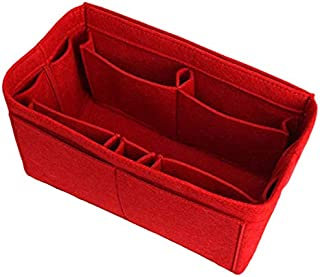 SODIAL Red Home Storage Bag Purse Organizer Felt Insert Bag Makeup Organizer Inner Purse Portable Cosmetic Bags Storage Tote