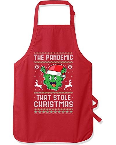 The Pandemic that Stole Christmas Hanukkah Ugly Christmas Graphic Apron, Red, One Size